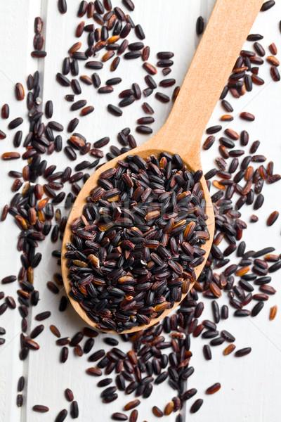 Negro arroz cuchara de madera superior vista alimentos Foto stock © jirkaejc