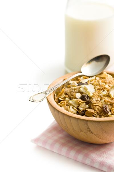 Müsli çanak ahşap beyaz süt Stok fotoğraf © jirkaejc