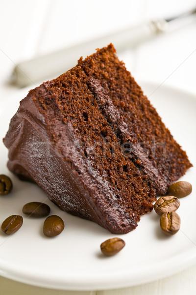 Cioccolato fondente torta chicchi di caffè compleanno cioccolato cafe Foto d'archivio © jirkaejc