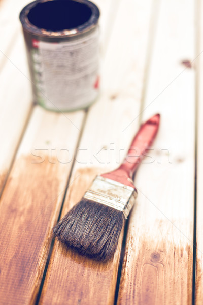 painting wooden table using paintbrush  Stock photo © jirkaejc