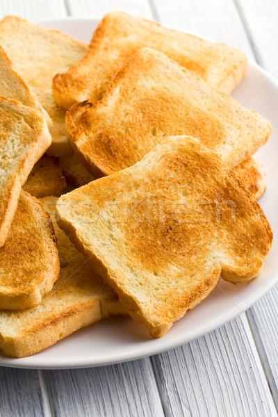 Witte geroosterd brood plaat groep diner Stockfoto © jirkaejc
