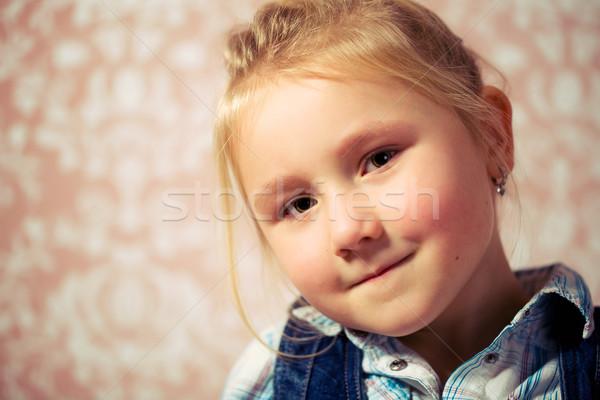Portret meisje retro ogen haren grappig Stockfoto © jirkaejc