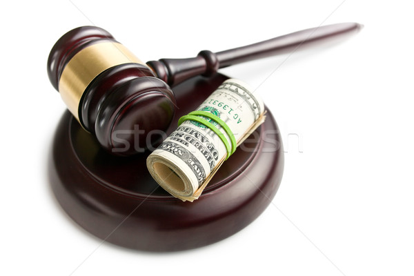 judge gavel with pack of dollars Stock photo © jirkaejc