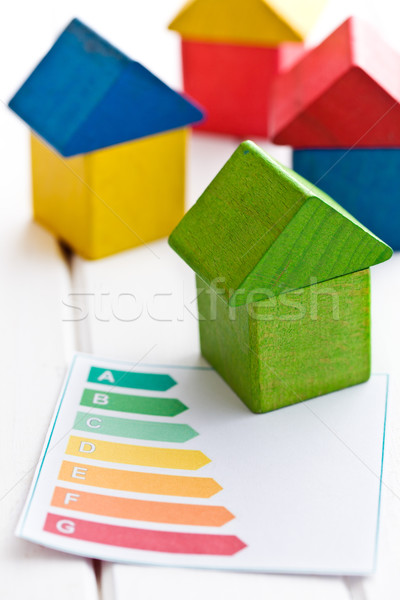 wooden house with energy efficiency levels Stock photo © jirkaejc