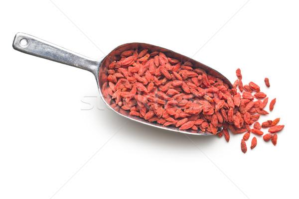 Kurutulmuş karpuzu Metal kepçe arka plan kırmızı Stok fotoğraf © jirkaejc