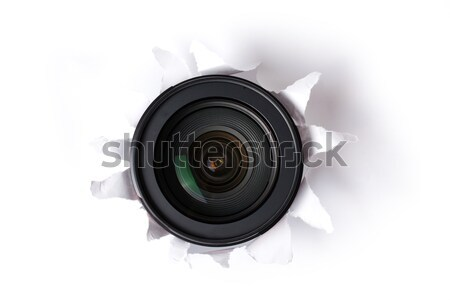 Stockfoto: Lens · gat · papier · veiligheid · digitale