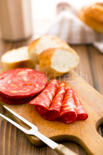 sliced chorizo salami on cutting board Stock photo © jirkaejc