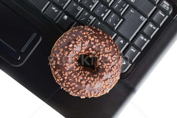 ストックフォト: ブレーク · オフィス · ドーナツ · ノートパソコンのキーボード · ビジネス · 食品