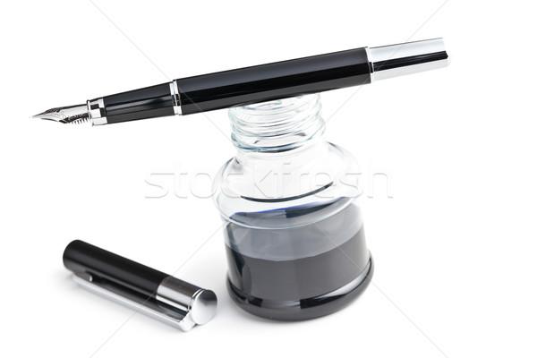 Töltőtoll háttér felirat üveg kommunikáció fekete Stock fotó © jirkaejc