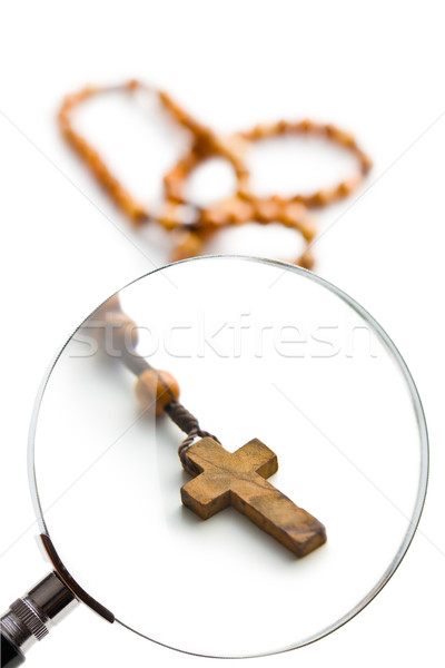 rosary beads under magnifying glass Stock photo © jirkaejc