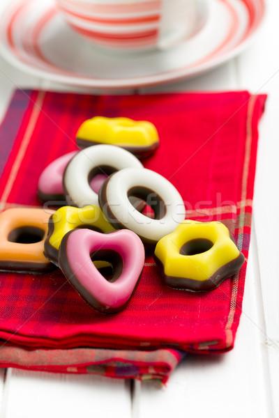 Colorido confeitaria vermelho guardanapo coração chocolate Foto stock © jirkaejc