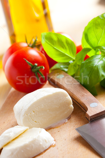 fresh mozzarella with tomato and basil Stock photo © jirkaejc