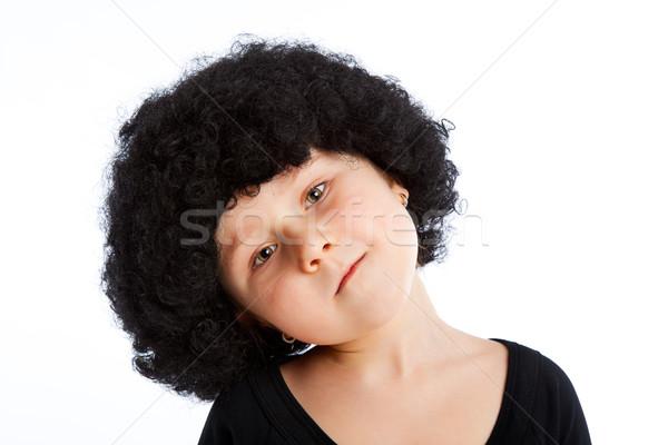 Lány gyermek afro paróka portré arc Stock fotó © jirkaejc