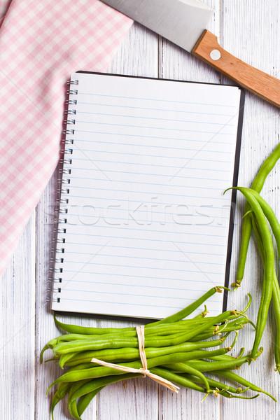 blank recipe book with green beans Stock photo © jirkaejc