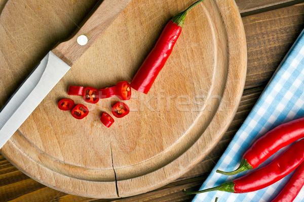 chopped chili pepper on cutting board Stock photo © jirkaejc