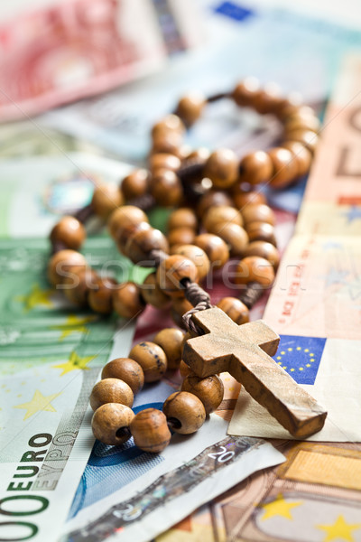 rosary beads on euro currency Stock photo © jirkaejc