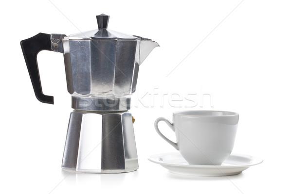 Koffiezetapparaat keramische beker witte koffie drinken Stockfoto © jirkaejc