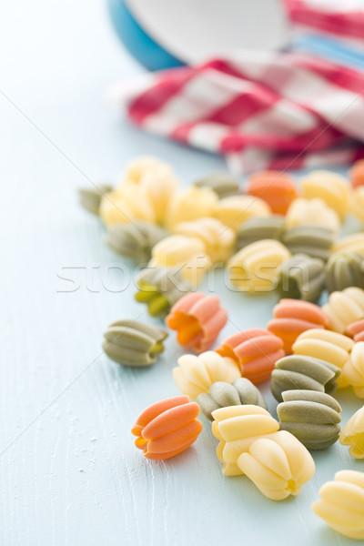 Foto d'archivio: Pasta · blu · tavolo · da · cucina · tavola · grano · cottura
