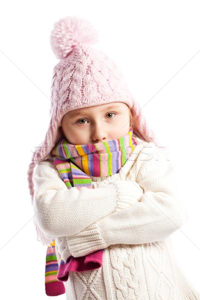 Meisje warm kleding gezicht kind Stockfoto © jirkaejc