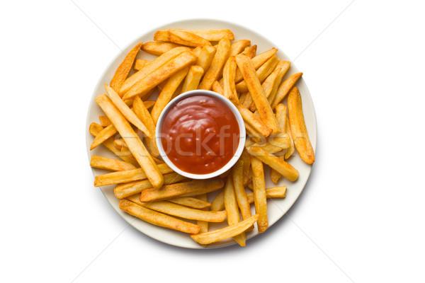 Sültkrumpli ketchup tányér felső kilátás háttér Stock fotó © jirkaejc