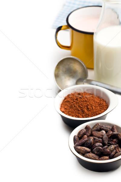 Foto stock: Pó · ingredientes · branco · tabela · comida
