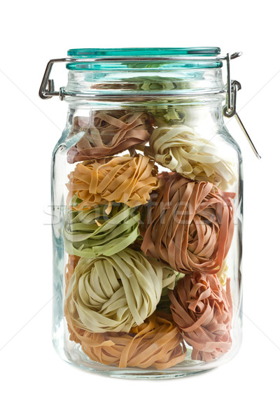 colorful pasta tagliatelle in glass jar Stock photo © jirkaejc