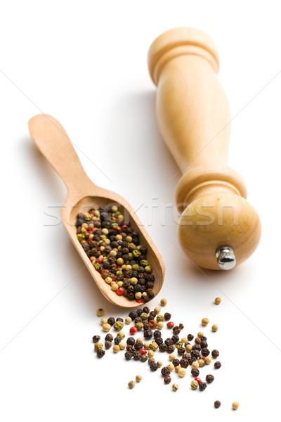 唐辛子 木製 コショウひき 白 木材 料理 ストックフォト © jirkaejc