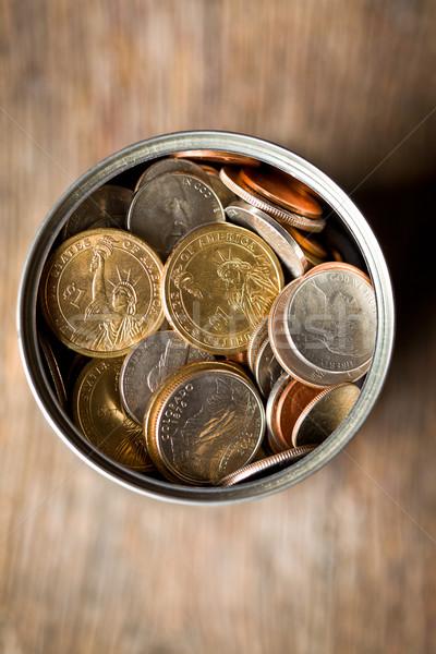american coins in tin can Stock photo © jirkaejc