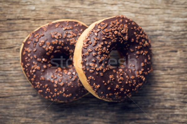 チョコレート ドーナツ 先頭 表示 ケーキ 脂肪 ストックフォト © jirkaejc