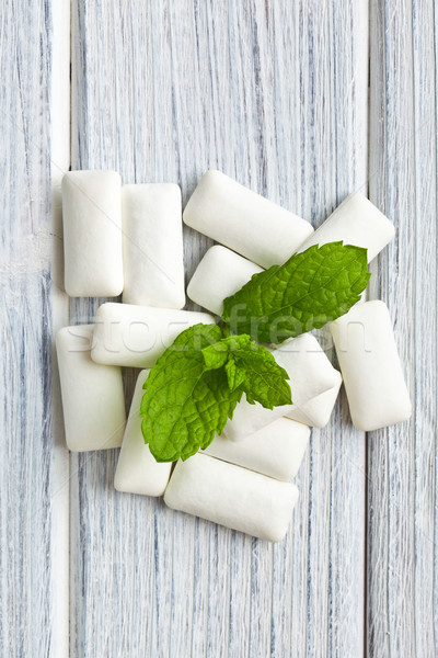 Stock photo: mint leaves and chewing gum