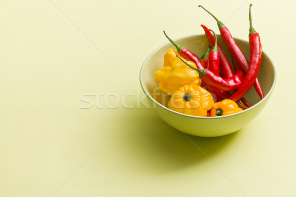 chili peppers and habanero in bowl Stock photo © jirkaejc