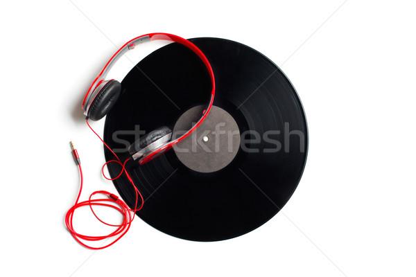 red headphones with vinyl album Stock photo © jirkaejc