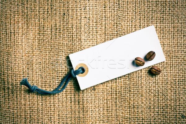 Stock fotó: Kávé · ár · címke · zsákvászon · kávé · ipar