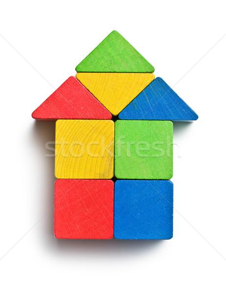 Ház fa játék kockák fehér építkezés gyermek Stock fotó © jirkaejc