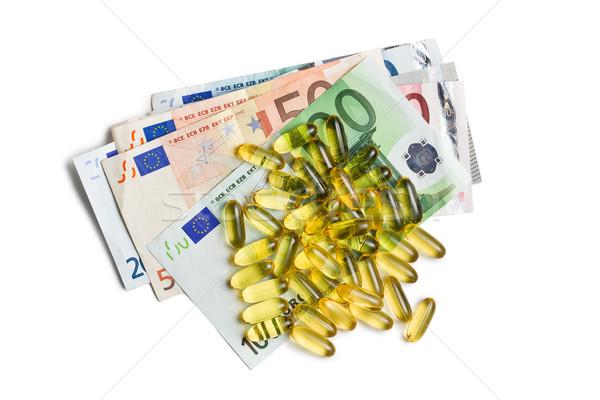 Máj olaj gél kapszulák Euro valuta Stock fotó © jirkaejc