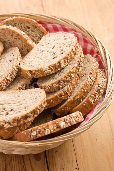 Tam buğday ekmeği mutfak masası ekmek buğday tahıl yemek Stok fotoğraf © jirkaejc