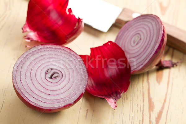 sliced red onion in kitchen Stock photo © jirkaejc