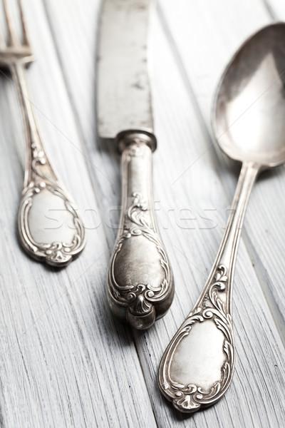 Edad cubiertos mesa de madera cocina mesa retro Foto stock © jirkaejc