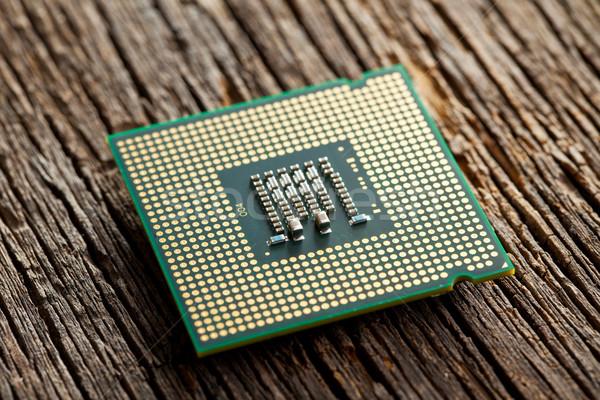Computer bewerker oude houten business achtergrond Stockfoto © jirkaejc