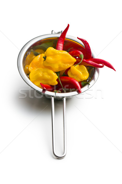 red peppers and habanero in colander Stock photo © jirkaejc