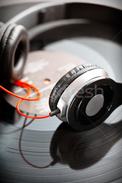 Hoofdtelefoon vinyl record mobiele plastic Stockfoto © jirkaejc