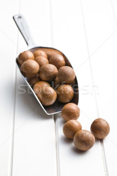 Stock fotó: Diók · merítőkanál · fehér · fa · asztal · kagyló · eszik