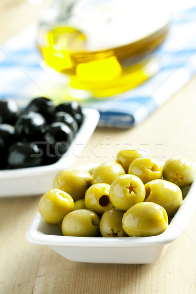 Photo stock: Vert · olives · noires · photo · coup · alimentaire · salade