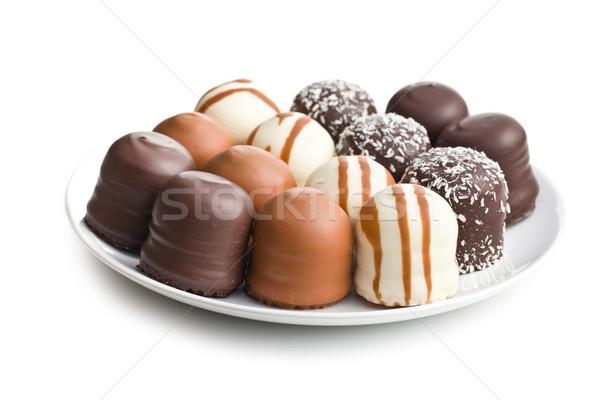 ストックフォト: チョコレート · カバー · 歳の誕生日 · 背景 · ケーキ · キャンディ