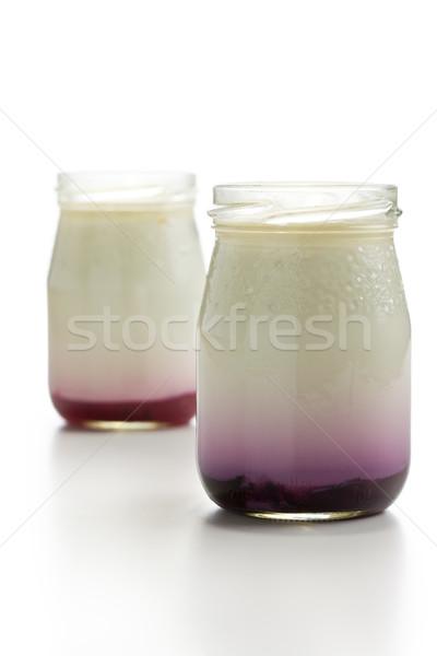 yogurt in glass jar Stock photo © jirkaejc
