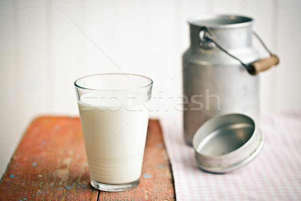 milk in glass on old wooden table Stock photo © jirkaejc