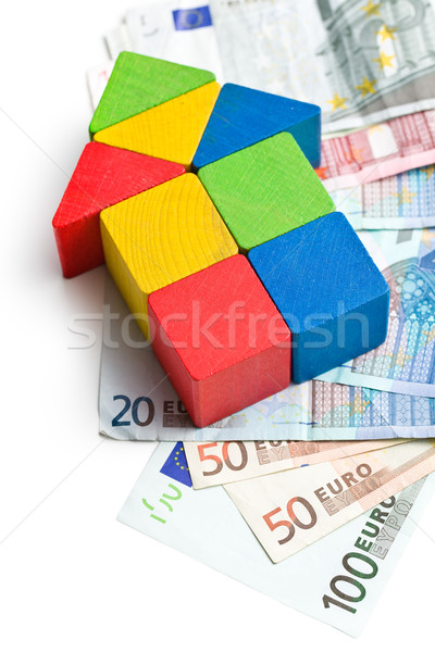 house made from wooden toy blocks with euro money Stock photo © jirkaejc