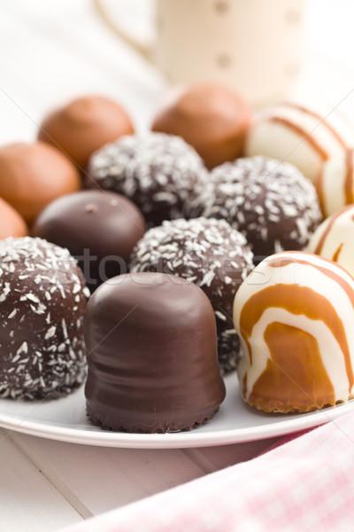 ストックフォト: チョコレート · カバー · 台所用テーブル · 歳の誕生日 · キャンディ · プレート