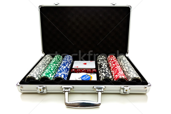 Aluminium valise poker fond blanche Photo stock © jirkaejc