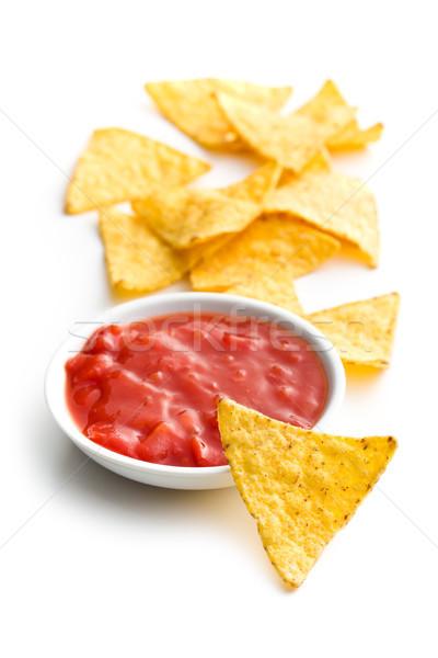 Foto stock: Nachos · tomate · salsa · blanco · maíz · caliente